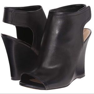 Aldo Leather Wedge Bootie Black - Size 8